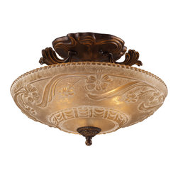 Elk Lighting - EL-08101-AGB Restoration 3-Light Semi-Flush in Golden Bronze - A grouping of ceiling lighting developed with a discriminating concern for preserving historic lighting and architectural designs. This offering of expert restoration and replication fixtures is offered in a wide variety of styles and sizes.