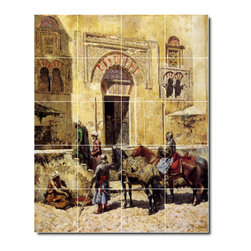 Picture-Tiles, LLC - Entering The Mosque 1885 Tile Mural By Edwin Weeks - * MURAL SIZE: 40x32 inch tile mural using (20) 8x8 ceramic tiles-satin finish.