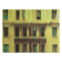 "New York Windows 1432, Original, Mixed Media - ""digitally manipulated photography, pigment printing on silk, hand quilting, gallery-wrapped stretched canvas"""