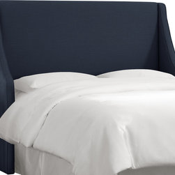 Skyline Furniture MFG. - Swoop Arm Wingback Headboard in Linen Navy - Wingbacks aren't just for chairs anymore. Add an element of bold luxury to your bedroom with this impressive upholstered headboard. The clean winged lines balance flare with tradition, giving your bedroom an air of refinement that feels comfortable at the same time. Drape a colorful contrasting duvet over your bed for extra style.