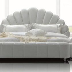 Whelk White Modern Leatherette Bed - White leather upholstery exudes a soft, contemporary appeal.