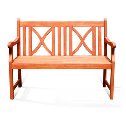 Vifah - Softcross 2-Seater Eucalyptus Wood Outdoor Bench - This attractive outdoor bench is crafted from premium-grade eucalyptus hardwood. Similar to teak in durability, this weather- and insect-resistant wood bench will be enjoyed for years to come.