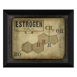 The Artwork Factory - Estrogen Molecule Framed Artwork - Ready-to-Hang, 100% Made in the USA, museum quality framed artwork