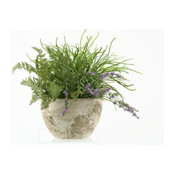 """D&W Silks - Artificial Pearl Grass and Forest Fern in Oval Cement Planter - It's amazing how much adding a plant can change the look of a room or decor, but it can be difficult if your space is not conducive to growing plants, or if you weren't exactly born with a """"green thumb."""" Invite the beauty of nature into your home without all the upkeep with this maintenance-free, allergy-free arrangement of artificial pearl grass and forest fern in an oval cement planter. This is not a living plant."""