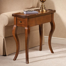 """Carolina Chair & table Co. - Carolina Harp Leg Table - Overview Narrow enough to fit tight spaces, this versatile tables diminutive size and graceful curves have made it a customer favorite year after year. Two drawers, one on each end, make it perfect as a display table in a hallway or powder room. Custom designed for Exposures and crafted from beautiful chestnut color wood.  Features Wood console table Chestnut color finish Custom designed for Exposures Comes fully assembled    Specifications  Measures 28"""" wide x 27"""" high x 11"""" deep    Shipping  Oversize shipping is an additional $30"""
