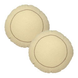 Store51 LLC - Natural Round Pillows Brown Stitching 12x12 Accent Cushions - FEATURES: