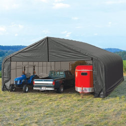 ShelterLogic - ShelterLogic 30 x 20 x 16 Peak Frame Garage Shelter Multicolor - 86043 - Shop for Sheds and Storage from Hayneedle.com! About ShelterLogic LLCShelterLogic LLC specializes in manufacturing and distributing a full line of multi-purpose all-weather shelters and accessories for consumer and commercial use. ShelterLogic offers the most diverse shelter product line and is the worldwide leader in innovative shelter design and manufacturing. The company makes shelters for all kinds of weather and custom solutions for every customer's need - from a full line of canopies garages sheds and storage shelters to popular ports greenhouses equine and engineered structures. More than 2 million ShelterLogic all-weather shelters provide protection and stand between valuable possessions and the destructive forces of nature's elements.