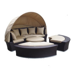 Dola - Outdoor Wicker Daybed with Canopy, Oahu, Heather Beige - This super sized outdoor daybed is perfect for your entertaining, lounging, and lifestyle needs. Relax and tan or take cover from the sun under the canopy by day and use as a sectional at night. This fully versatile daybed can be the centerpiece for all of your outdoor entertaining needs. Composed of 4 modular pieces, the 2 side benches can be pulled out from the main back piece to give you a conversation set. The ottoman doubles as extra seating or as a table. The circular cushion area is surrounded by an 8-inch wide wicker edge which looks elegant, provides lateral support for the cushions and is useful for placing drinks and other items on.