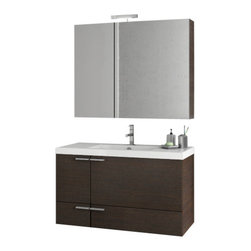 ACF - 39 Inch Wenge Bathroom Vanity Set - Made in engineered wood and mirrored glass and ceramic and finished with wenge.