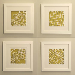 Personalized Mapcut by Studio Karen M. O'Leary - I think these map cuts are so cool. You can have them custom made for your own address or an address that has meaning to you, like the home you grew up in. The artist also has some amazing cuts of famous cities like London, Philadelphia, etc.