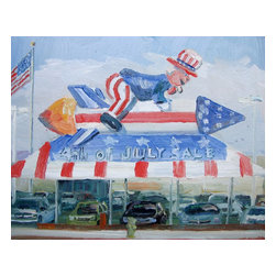 4Th Of July Sale, Original, Painting - This painting was painted on location (plein air) in front of a car dealership on Van Nuys Blvd in Los Angeles, California.