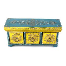 "MarktSq - Wooden Chest with Three Drawers and Brass Ring Pulls in Yellow and Turquoise - This gorgeous box features three drawers and can be used to store small trinkets. The striking color combination of turquoise and yellow makes this an attractive center piece. Approximate dimensions: L 12"" x H 5"" x W 4""."