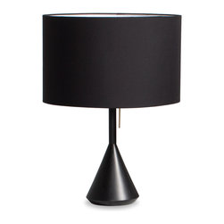 Blu Dot - Blu Dot Flask Table Lamp, Black - Class up any dark corner of your home with Flask. Available in all black with a sweet brass pull or go neutral with a white washed ash base and white powder-coated steel details. Linen lampshade, Metal pull in either brass or powder-coated steel, Solid painted ash base, Powder-coated steel neck, Grey cloth-covered cord