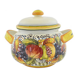 Abbiamo Tutto - Frutta Biscotti Jar - Hand Painted Cookie Jar - Hand formed on a potters wheel and hand painted with a classic Italian fruit pattern decorating the entire piece.  Made in Tuscany, Italy exclusively for Abbiamo tutto. Creamy honey color glaze combined with varying shades of amber yellow, green, blue, burgundy and brown. Variations in color and design are the part of the nature and charm of the piece Food safe. Lead free.