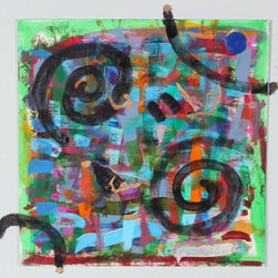 Lost Art Salon - Original Abstract with Swirls by Frances Hicks - Isn't it time to start replacing your posters with real art? This affordable acrylic-on-paper piece is signed by the artist and will get you started on your collection.