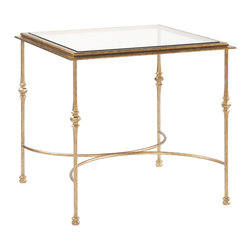 Sherrill Occasional - Sherrill Occasional Square End Table M29-32 - Artisan styled square lamp table with a handsome double arched welded stretcher base. Aged brass finish.