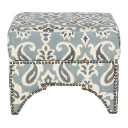 Safavieh - Declan Ottoman - Blue/ Grey & Off White Print - The Declan ottoman seamlessly bridges Eastern and Western design influences with its cutout motif inspired by Moroccan architecture and fashion-right brass nailhead detailing. Beautifully upholstered in a cornflower blue paisley pattern in a blend of linen and cotton, this handsome ottoman is as stylish as it is comfortable.