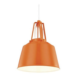 Feiss Lighting Freemont Hi Gloss Orange Mini-Pendant Light with Bowl / Dome Shad -