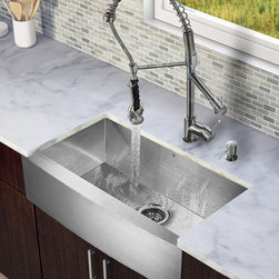 Vigo Industries - Single Kitchen Sink and 27.25 in. Faucet Set - Includes soap dispenser, matching bottom grid, sink strainer, all mounting hardware for faucet and hot-cold waterlines