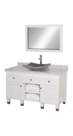 Wyndham Collection - Eco-Friendly Floor Standing Bathroom Vanity in White Finish - Includes natural stone counter, backsplash, one vessel sink and matching mirror. Faucets not included. Engineered to prevent warping and last a lifetime. Highly water-resistant low V.O.C. finish. 12 stage wood preparation, sanding, painting and finishing process. Deep doweled drawers. Fully extending bottom mount drawer slides. Soft close concealed door hinges. Single hole faucet mount. Plenty of storage space. Brushed steel leg accents. Metal hardware with brushed chrome finish. Two doors and two drawers. White Carrera marble top. Black granite sink. Made from zero emissions solid oak hardwood. Vanity: 48 in. W x 22.5 in. D x 36 in. H. Mirror: 24.25 in. W x 36.25 in. HCutting edge, unique transitional styling. A bridge between traditional and modern design, and part of the Wyndham Collection Designer Series by Christopher Grubb, the Premiere Single Vanity is at home in almost every bathroom decor, resulting in a timeless piece of bathroom furniture.