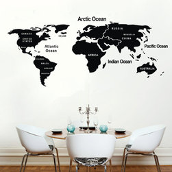 ColorfulHall Co., LTD - Map Wall Decals DIY World Map with Country, Black - Map Wall Decals DIY World Map with Country