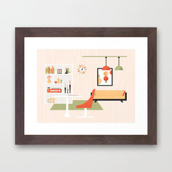 Mid-Century Living Room Art Print - Fuss-free, linear with just the right amount of curves thrown into the mix, this Mid-Century Living Room Art Print captures the simplicity and beauty of mid-century modern design in an elegant, colorful print.