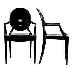 Modway Furniture - Modway Casper EEI-905-BLK Dining Armchairs Set of 2 in Clear - EEI-905-BLK Dining Armchairs Set of 2 in Clear belongs to Casper Collection by Modway Combine artistic endeavors into a unified vision of harmony and grace with the ethereal Casper Chair. Allow bursts of creative energy to reach every aspect of your contemporary living space as this masterpiece reinvents your surroundings. Surprisingly sturdy and durable, the Casper Chair is appropriate for any room or outdoor setting. Pure perception awaits, as shining moments of brilliance turn visual vacuums into new realms of transcendence. Set Includes: Two - Casper Armchairs Arm Chair (2)