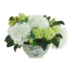 Winward - Hydrangea In Toile Bowl Flower Arrangement - The classic combination of hydrangeas in a porcelain toile-printed bowl will always be in style. Place this permanent display on a coffee table, powder room sink or kitchen table for a cheery statement that will feel fresh for years to come.