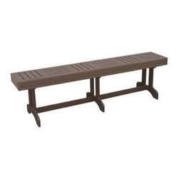 Monterrey Bench - The Monterey Bench adds casual and attractive extra seating to your deck, patio, or backyard. Use the bench with the matching Monterey 6-Foot Table, or by itself. It is durable enough for residential or commercial use and is made of 100% recycled plastic that will never chip, rot, split, or need painting. The bench is made in the USA of 100% recycled plastic rather than wood to help keep the environment green.The Green Benefits of Plastic LumberPlastic lumber is recycled high-density polyethylene (HDPE) and sometimes other additives, such as fiberglass, extruded into common lumber profiles. HDPE is a very durable plastic, making recycled plastic lumber a positive alternative to wood in external environments. The uses, as with wood, are endless. It is particularly advantageous in areas where exposure to the elements is frequent or high abrasion is likely.Additional benefits of recycled plastic over wood:Virtually maintenance-freeImpervious to insectsWill not crack or splitResistant to graffiti and stainsDoes not contaminate ground or soilHigh abrasion resistanceSplinter-freeImpervious to marine borersColor-impregnated, no painting requiredNo harmful chemicalsAbout Eagle One Pool FurnitureEagle One Products has been designing and manufacturing environmentally friendly, durable, and aesthetic products for use on golf courses, resorts, hotels, and restaurants for over 12 years. Built to last in some of the harshest areas and weather conditions - intense sunlight, rain, snow and chemicals, Eagle One furniture looks new, season after season. Recognized as the leader in introducing recycled plastic lumber products into the golf industry, Eagle One has many years' experience in designing and manufacturing recycled plastic products, and continue to lead the way in design, durability, and style, while at the same time protecting the environment. Additional Information: Greenwood Lumber Made in the USA Won't crack, split, rot, or splinter Resists insects, gra