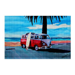 DiaNoche Designs - Area Rug by Markus Bleichner - The Red Bus - Finish off your bedroom or living space with a woven Area Rug with Chevron pattern  from DiaNoche Designs. The last true accent in your home decor that really ties the room together. Maybe its a subtle rug for your entry way, or a conversation piece in your living area, your floor art will continue to dazzle for many years. 1/4 thick. Each rug is machine loomed, washed and pre-shrunk, printed, then hemmed on the edges.   Spot treat with warm water or professionally clean. Dye Sublimation printing adheres the ink to the material for long life and durability