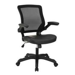 Modway - Veer Vinyl Office Chair in Black - Chart new territory while seated from the comfort of the Veer Chair.Veer features a form-fitted breathable mesh back and padded waterfall vinyl seat to keep your back and thighs posture perfect. Easily adjust the height of Veer's arms to match your seating position and height.Securely lock your back in place with a user friendly seat tilt plus tension control knob--perfect for adjusting the chair to correctly fit your body weight.Adjust the seat height with a one-touch pneumatic lift with hooded dual-wheel casters to ensure effortless gliding over carpeted offices.Veer is a chair built for the progressive worker. Make yourself stand out as you venture forth from a place of naturally efficacious activities.