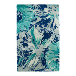 """Kaleen - Kaleen Brushstrokes Collection BRS06-17 2'6"""" x 8' Blue - The artistic inspirations of the Brushstrokes collection finally brings you a true piece of art for your floor! Beautiful hand-painted designs accentuated from a smooth and steady motion, this assortment features a unique spotlight of fantastic color combinations. Each rug is perfectly executed and detailed in this 100% wool, hand-tufted rug made in India."""