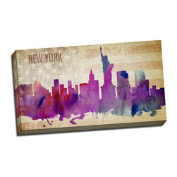 Picture it on Canvas - Watercolor Cities, New York - Colorful Watercolor Cities Art