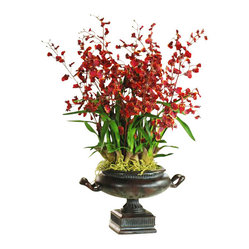 Winward - Oncidium Orchid Centerpiece Flower Arrangement - Nothing is more chic than a beautifully blooming orchid, but keeping that hot-house flower happy is easier said than done. Investing in a high-end permanent display means you get to enjoy the plant at its finest all year. Place this elegant urn on an entryway table for a grand first impression.