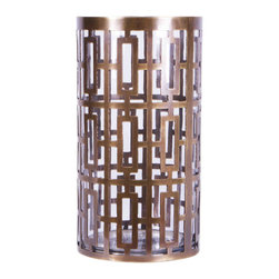 """Jamie Young - Jamie Young Cypress Brass Hurricane - The Jamie Young Cypress hurricane's geometric design delights with mod flair. Featuring a striking rectangular pattern, this round accent catches the eye with a shimmering brass frame. 5.5""""W x 5.5""""D x 10.25""""H."""