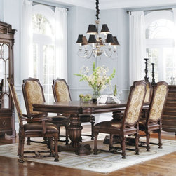 A.R.T. Furniture - A.R.T. Furniture Capri 7 piece Rectangle Dining Set with Upholstered Chairs - Cl - Shop for Dining Chairs from Hayneedle.com! Grand in scale yet intricately detailed the A.R.T. Furniture Capri 7 pc. Rectangle Dining Set with Upholstered Chairs Claret features classic European design elements such as fluted Corinthian column chair legs and elegant urn-shaped table pedestals. This set is constructed from hardwood solids and premium narrow heart cathedral cherry veneers with short grain avodire borders with chairs upholstered in jacquard fabric.About A.R.T. FurnitureFounded in 2003 A.R.T. Furniture creates beautiful high-quality furniture inspired by architecture and design. Their sophisticated aesthetic draws upon the best of traditional European furniture designs as well as rustic coastal and transitional styles. A.R.T. Furniture is known for its themed collections that reinvent classic forms for the needs of contemporary home decorators. Their dining room bedroom entertainment and living room furnishings are constructed from sustainably forested hardwoods and veneers. A.R.T. Furniture is distinguished by its superior craftsmanship and attention to detail taking the extra step in the manufacturing process to ensure quality beauty and durability for its customers.