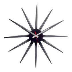 Modway - Starflash Wall Clock in Black Silver Red - Recreate reality and ride into new universes with this designer timepiece in black lacquered metal. From hidden depths and first inklings allow yourself to surge forth and navigate successful realms. Enjoy this George Nelson classic as you witness striking statements shooting forth with energy and charisma that draw attention to a cosmic event made public.