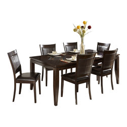 Homelegance - Homelegance Vincent 7-Piece Rectangular Dining Room Set in Espresso and Oak - Glass overlay tops the intricate acacia-wood staggered block patterns of the two table offering s in the Vincent collection. Each intricate pattern surrounds a center contrasting block _ the 54-inch square table top features an expanse of glass framed with wood, while the fully expanded 78-inch tabletop is accented with two decorative glass-topped accents. These unique tables feature a modern two-toned espresso/oak finish. Wood framed chairs with chocolate brown bi-cast vinyl seats and backs flank these contemporary table.