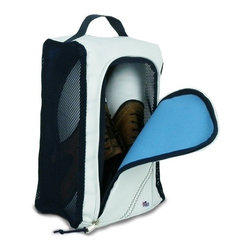 "Sailor Bags - Sailcloth Shoe Bag - This Sailcloth Shoe Bag is very convenient and functional. The shoe bag fits one pair of shoes and is a great way to transport dress shoes golf shoes sneakers or water shoes. It has a double zipper and a wide opening on the front for easy access. The mesh sides capture excess dirt while allowing shoes to breathe or dry. Includes a carrying handle to ensure ease during use.Great for travel sports the boat the golf course or the gym! Dimensions: 12""h x 8.75""w x 5""d Fits up to a Mens Size 13"