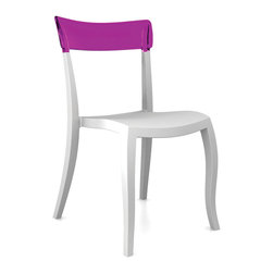 Hera-S Chair (set of 4) by Plastix / Papatya - A perfect splash of color for rooms with a Radiant Orchid palette or all white spaces with touches of that Color of the Year, this version of the Hera-S is a chair for today's modern dining rooms. How cool is this color combination?
