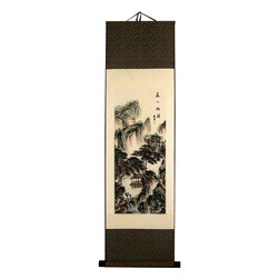 Oriental-Decor - Mountain Pagoda Chinese Print Scroll - A rich, sweeping landscape of trees, pagodas and mountains fills the borders of this grandiose Chinese print scroll. This historic scene of a land from the distant past will transport the viewer to a peaceful time and place in history. Decorate your wall with this alluring Chinese scroll while adding a touch of the Orient to your home or office.