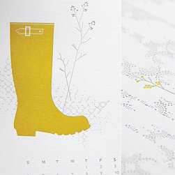 """2012 Letterpress Calendar by INK+WIT - I have been a fan of INK+WIT founder Tara Hogan for a number of years now, and the new 2012 letterpress calendar is definitely going on my wish list! Called """"Into the Calm,"""" it features gorgeous soft shades of gray punched up with mustardy yellow. The bonus is that you can trim it and frame each page as an art print when the year is done."""