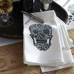 "Day of the Dead Skull Bar Towel, Set of 2 - Skillful replicas of the classic Mexican Calavera Catrinas, or elegant skulls, are rendered on our bar towels. 16 x 18"" Woven of a linen/cotton blend. Machine wash. Imported. Catalog / Internet only."