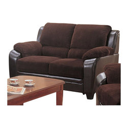 Coaster - Coaster Monika Stationary Love Seat in Chocolate - Coaster - Loveseats - 502812 - Snuggle up with a loved one in this comfortable and stylish loveseat. Soft and supportive this two-seat sofa offers thick boxed seat cushions pillow-top arms and plush channel-tufted back pillows for exceptional comfort and effortless support at every angle. With its unique two-toned upholstery featuring a corduroy fabric on top and a sleek brown vinyl on bottom this item is bound to catch your eye with its charming casual-contemporary style. Framed by crisp lines and tapered wood feet this loveseat's versatile design can be used to dress up or dress down any occasion. Whether standing alone in a tight area of the room or paired with a full-length sofa for a complete living room ensemble this loveseat is the ultimate home accessory.