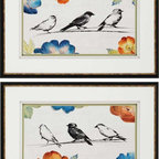 Paragon Decor - Songbirds Set of 2 Artwork - Delicate song birds are matted in white and green and shadow boxed.