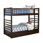 Homelegance - B33E-1-Homelegance Dreamland Bunk Bed in Rich Cherry - Twin over Twin - Clean lines are accented in a rich cherry finish that highlights this classic contemporary bunk offering. The Twin over Twin and Twin over Full configurations allow for the perfect placement in your children's bedroom. Storage boxes (two per package) are optional.