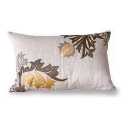 "Cassandra Pillow - 16""H x 24""W - Hand-embroidered flower motifs in a trio of solid tones have a jagged but luxe, exotic outline to bring both traditional faraway floral patterns and dynamic transitional movement to your seating pieces or beds.  The Cassandra design is a rectangular throw pillow made from natural linen with a feather insert.  Its surface is embroidered with flower heads and spear-shaped leaves in steely grey, chocolatey taupe, and buttery gold for easy magnificence in your home."