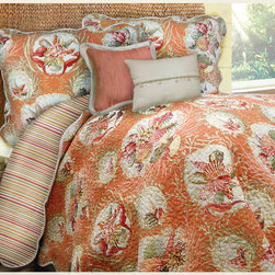 None - Shell Key Quilt and Sham Separates - Update your bedroom decor Caribbean style with this orange, cream, and green quilt and shams. Featuring gorgeous coral colors and cameo shell motifs, this reversible cotton quilt will transform any bedroom into a tranquil seaside retreat.