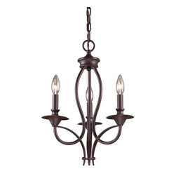 ELK Lighting - Three Light Oiled Bronze Up Chandelier - Three Light Oiled Bronze Up Chandelier