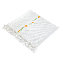 """Blancho Bedding - Chrysanthemum - WhiteThermal Cellular Embroidered Throw Blanket  31.5""""-55.1"""" - The Thermal Cellular Throw Blanket measures 31.5 by 55.1 inches with embroidered chrysanthemum pattern and fringe. This knitted, all cotton, cellular-weave, thermal blanket keeps warm and cozy, and has durable, bounded edges for strength and long wear with tightly knit yarns to minimize snagging. The soft cellular weave is perfect for warmer climates all year round or as an extra layer in cooler climates. Whether you are adding the final touch to your bedroom or rec-room, these patterns will add a little whimsy to your decor. Machine wash and tumble dry for easy care. Will look and feel as good as new after multiple washings! This blanket adds a decorative touch to your decor at an exceptional value. Comfort, warmth and stylish designs. This throw blanket will make a fun additional to any room and are beautiful draped over a sofa, chair, bottom of your bed and handy to grab and snuggle up in when there is a chill in the air. They are the perfect gift for any occasion!"""